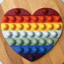Forma para Chocolate com Silicone POP IT Coração POPIT Fidget Toys Placa Ref. 10273 BWB 1unid -