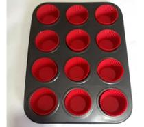Forma Para Cupcake Antiaderente Com 12 Forminhas Silicone - Emcasa -