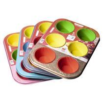 Forma Para Cupcake Colorida 6 Furos e Forminhas De Silicone - Riotijucas