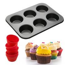 Forma Para Cupcake Com 6 Cavidades e 6 Forminhas de Silicone - Em Casa Tem