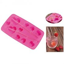 Forma Silicone Ice Drink Coracao para Gelo, Biscuit, Chocolate  Mor