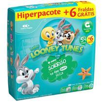 Fralda Baby Looney Tunes Tamanho G Pacote Hiper 54 Fraldas Descartáveis e Ganhe 6 Fraldas -