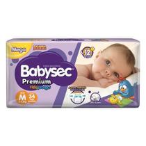 Fralda Babysec Premium Tamanho M Pacote Mega 34 Fraldas Descartáveis -