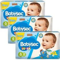 Fralda Babysec UltraSec Galinha Pintadinha G - Kit com 3 = 114 Unidades - Baby Sec