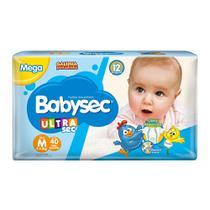 Fralda Babysec Ultrasec Tamanho M Pacote Mega 44 Fraldas Descartáveis -