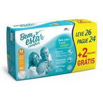 Fralda Bem Estar Comfort Economica M C/26 - Bem Estar Brasil