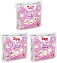 Fralda de Pano Básica Estampa Menina - Topz Baby Kit C/ 3 Pacotes - 65x65cm - Cremer