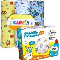 Fralda de Pano Galinha Pintadinha + 3 Cueiros Flanelados Menino - Almofadas Garcia/Cremer