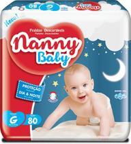 Fralda Descartável Barato Nanny Baby G Com 80 Unidades -