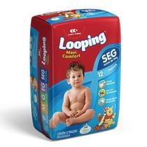 Fralda Descartável Looping Maxi Confort Prática Seg 12 Unidades -