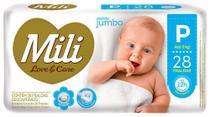Fralda Descartável Mili - Love & Care - Linha Premiun - Tam P 1 Pacotes c/ 28 fraldas -