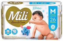 Fralda Descartável Mili   Love Care  Tam M  26 Fraldas com Super Gel Absorvente Proteção Dia e Noite -