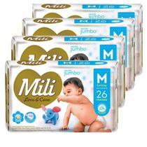 Fralda Descartável Mili Love&Care Tamanho M 4 Pacotes com 26 Total 104 Fraldas  Gel Super Absorvente -