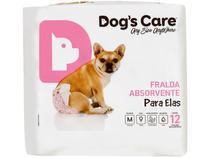 Fralda Descartável para Cachorro Fêmea M - Dogs Care Para Elas 12 Unidades