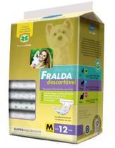 Fralda Descartável para Cachorro - Tam M - Pacote com 12 Unidades - American Pets
