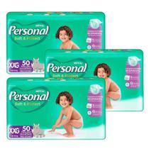 Fralda Descartável Personal Soft Protect Hiper, Extra Extra Grande - 3 Pacotes com 50 Tiras -
