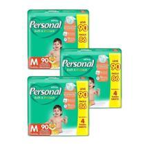 Fralda Descartável Personal Soft&Protect Hiper Media 3 Embalagens c/ 90 Leve Tiras -