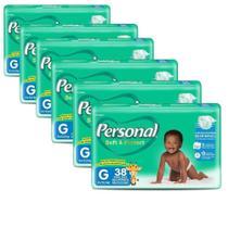 Fralda Descartável Personal Soft & Protect Mega Grande 6 Pacotes com 38 Tiras -