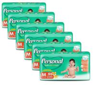 Fralda Descartável Personal Soft & Protect Mega Média 6 Pacotes  com 44 Tiras -
