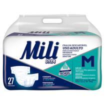 Fralda Geriatrica Adulto MILI  VITA  Tam M   27 Fraldas com Super Gel Absorvente Conforto e Proteção -