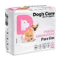 Fralda Higiênica Dogs Care Cães Fêmeas com Gel 6 Unidades - Tamanho M - Dog'S Care