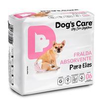 Fralda Higiênica G Para Fêmeas Dogs Care C/06 Unidades -