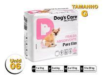 Fralda Higiênica P/cães Fêmeas - Dog's Care Tam G - 06 Unid -