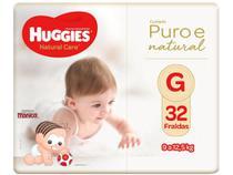 Fralda Huggies Premium Puro e Natural - Tam. G 9 a 12,5Kg 32 Unidades