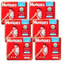 Fralda huggies soft touch rn recém nascido 6 pacotes com 18 unidades -