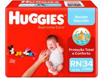 Fralda Huggies Supreme Care - Primeiros 100 Dias Tam. RN até 4kg 34 Unidades