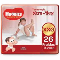 Fralda huggies supreme care xtra-flex - xxg 14 kg à 18 kg com 26 unidades -