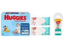 Fralda Huggies Tripla Proteção - Tam. M 92 Unidades + 2 Lenços Umedecidos + Shampoo