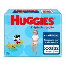 Fralda Huggies Tripla Proteção Tamanho XXG Pacote Mega 32 Fraldas Descartáveis -