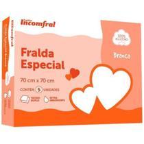 FRALDA INCOMFRAL ESPECIAL BRANCA 70cm X 70cm TECIDO 100% ALGODAO CAIXA 5 UNIDADES -