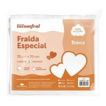 FRALDA INCOMFRAL ESPECIAL BRANCA 70cm X 70cm TECIDO 100% ALGODAO PACOTE 5 UNIDADES -