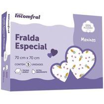 FRALDA INCOMFRAL ESPECIAL MENINAS ESTAMPADA 70cm X 70cm TECIDO 100% ALGODAO CAIXA 5 UNIDADES -