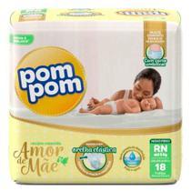 Fralda Infantil Descartável  Pom Pom Amor Mae Rn18unid. -