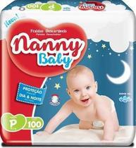 Fralda infantil nanny baby p 100 unidades -