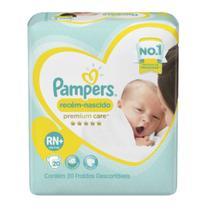 Fralda infantil pampers premium care c/20 rn+ pc - Sem marca