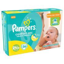 Fralda infantil pampers rn c/36 confort sec rn+ -