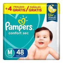 Fralda Pampers Confort Sec Tamanho M Pacote Mega 48 Fraldas Descartáveis -