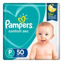 Fralda Pampers Confort Sec Tamanho P Pacote Mega com 50 Fraldas Descartáveis -