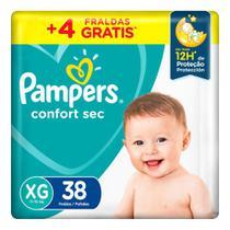 Fralda Pampers Confort Sec Tamanho XG Pacote Mega 38 Fraldas Descartáveis -