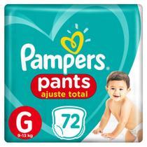 Fralda Pampers Pants Ajuste Total Tamanho - G c/72 Unidades -