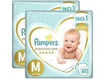 Fralda Pampers Premium Care M 2 Pacotes - com 80 Unidades Cada