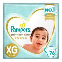 Fralda Pampers Premium Care Nova Top Tamanho XG 76 Unidades -