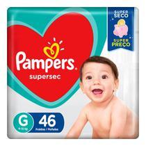 Fralda Pampers Supersec Tamanho G Pacote Hiper com 46 Fraldas Descartáveis -