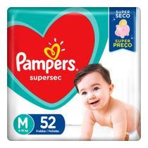 Fralda Pampers Supersec Tamanho M Pacote Hiper com 52 Fraldas Descartáveis -