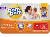Fralda Pom Pom Protek Proteção de Mãe  - Tam. M 4 a 9kg 18 Unidades
