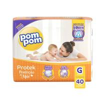 Fralda Pom Pom Protek Proteção de Mãe Tamanho G Pacote Mega 40 Fraldas Descartáveis -